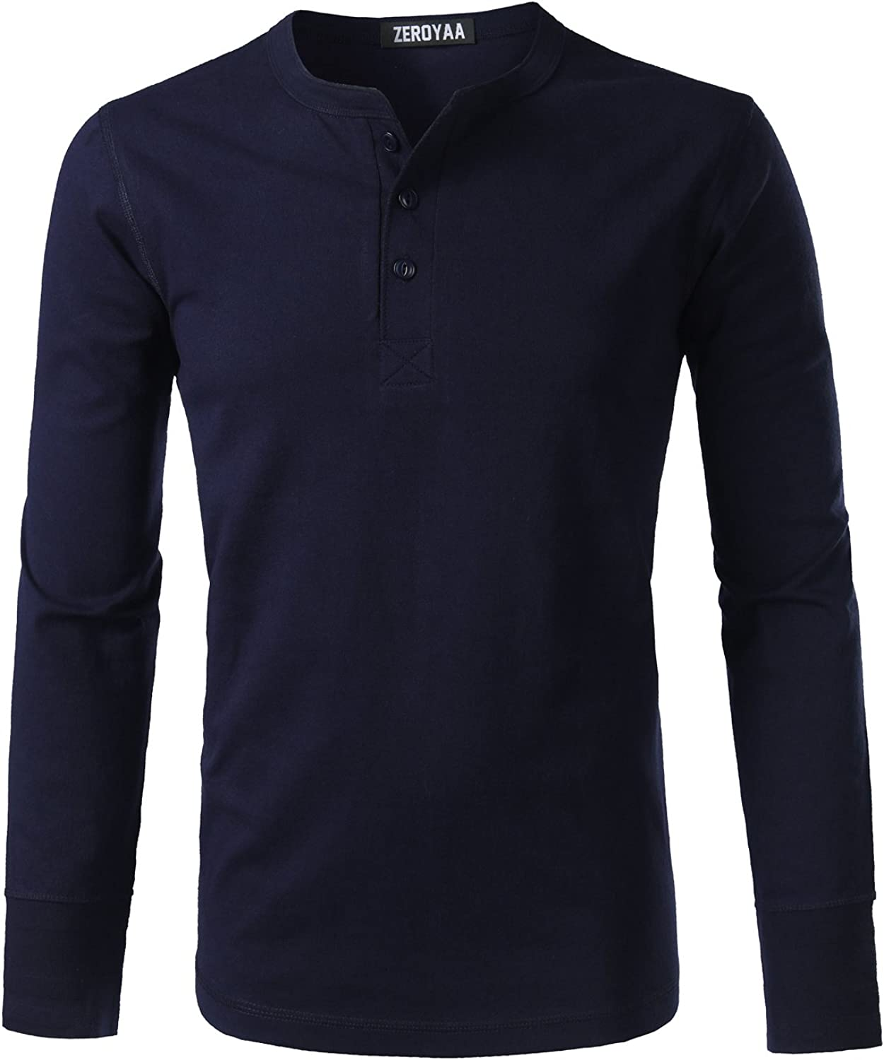 Mens Casual Heavyweight Basic 3 Button Henley Slim Fit V Neck T Shirts Tops