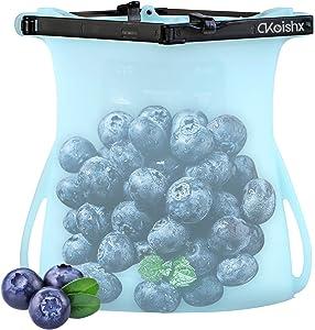 Reusable Bags Silicone Dishwasher Safe Reusable Ziplock Storage Bag for Food - FoodGrade Leakproof Silicone Freezer Bags for Sandwich, Snack, Liquid, Meat, Vegetable, Fruit (Blue, 33.8Oz)