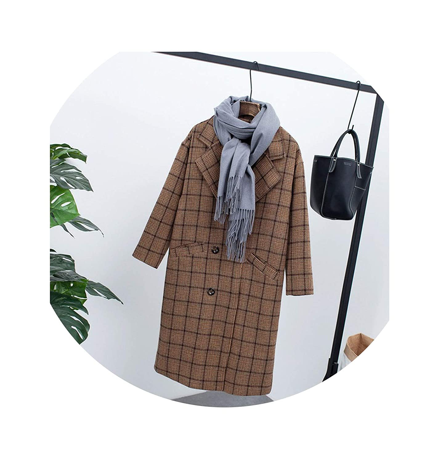 3 colorfulspace New Winter Clothing Plus Velvet Thick Woolen Long Loose Large Size Plaid Woolen Coat