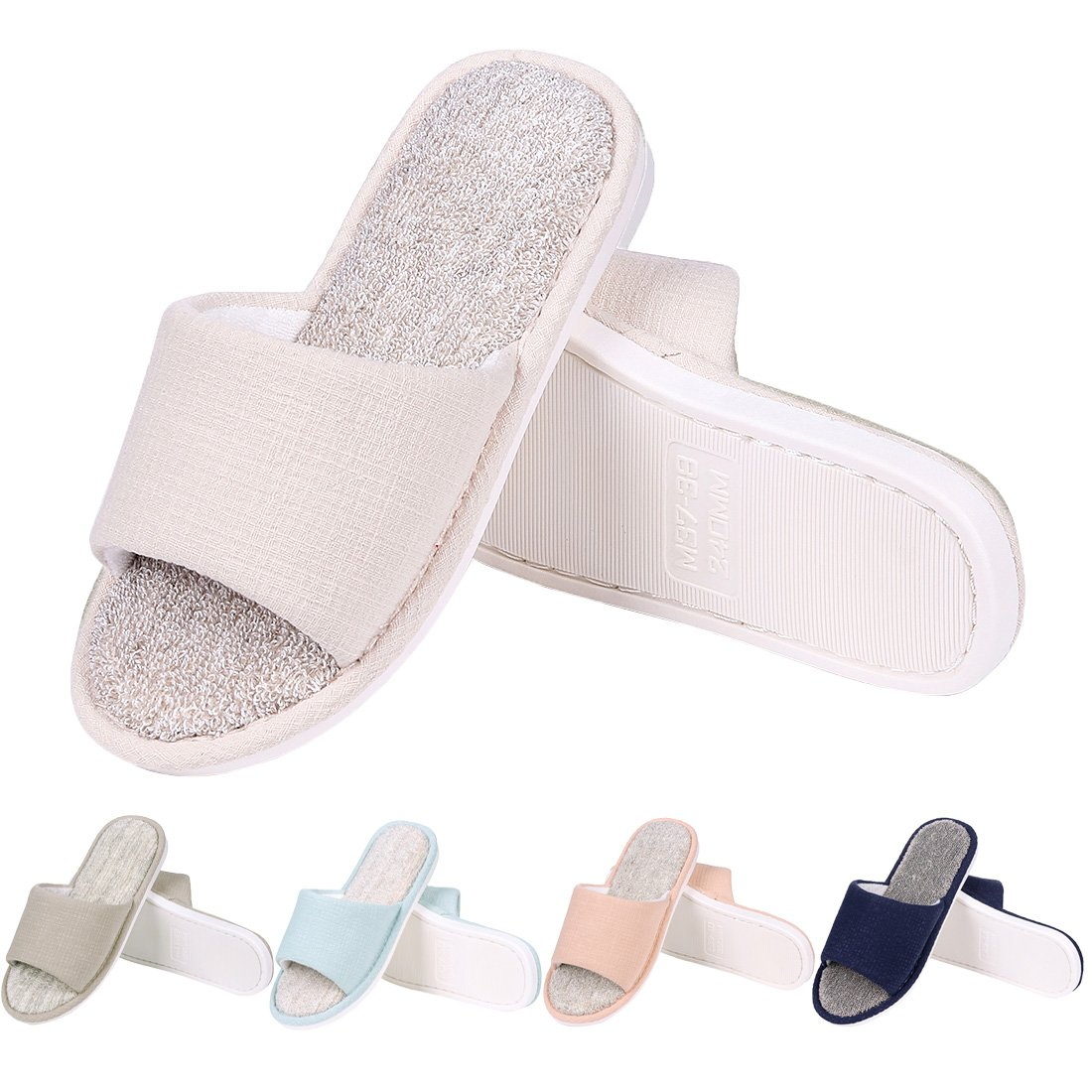Women's Memory Foam House Slippers Terry Cloth Home Shoes Open Toe Slip on Cotton House Slippers BG-M