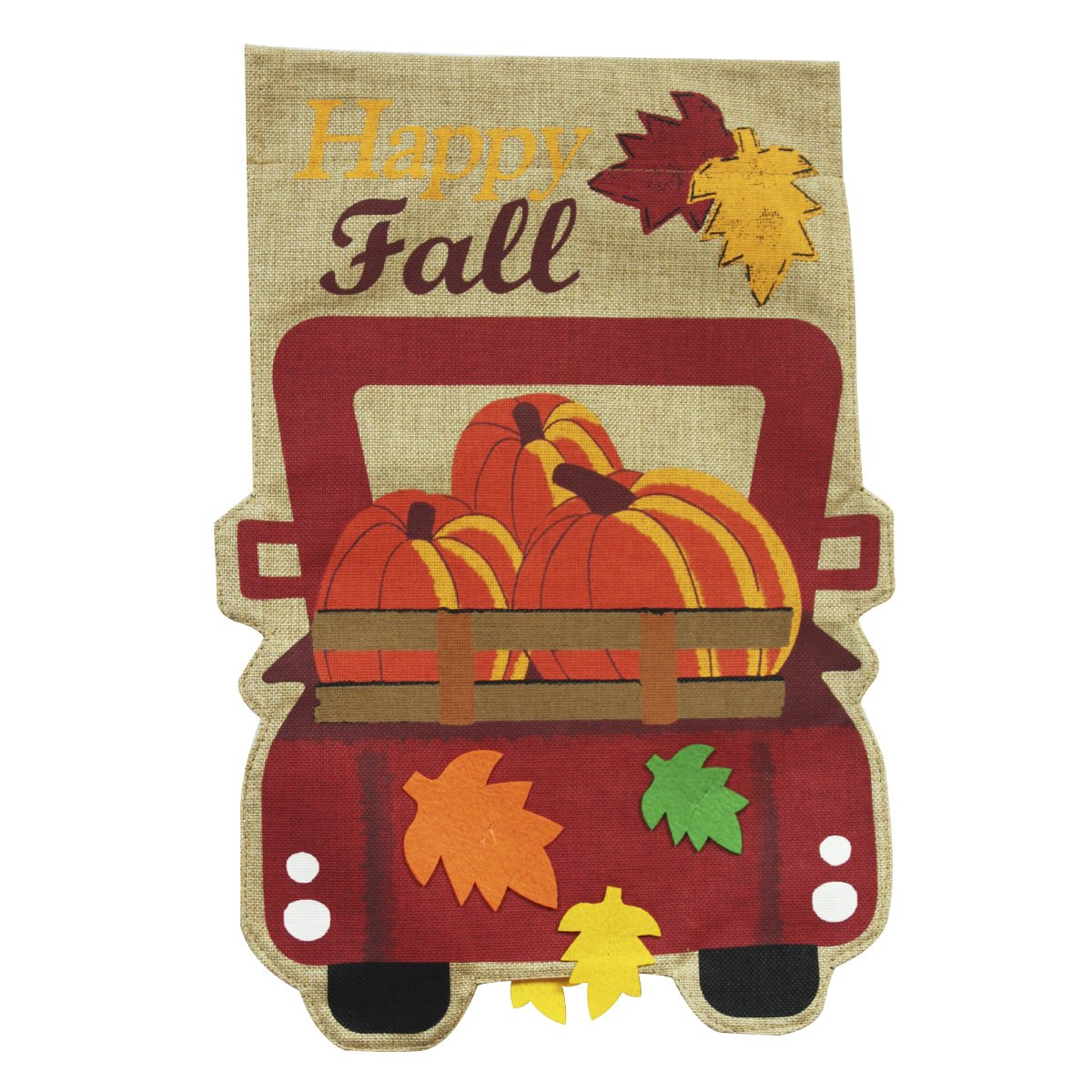 Morigins Happy Fall Pickup Burlap Garden Flag Give Thanks 12.5 x 18 Inch, Old Red Truck Seasonal Outdoor Flag Double Sided