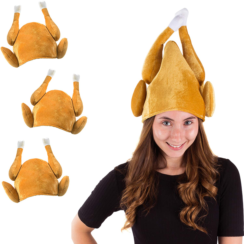 Tigerdoe Turkey Hats - 3 Pack Plush Turkey Costumes - Thanksgiving Party Headband - Roasted Turkey Hat (3 Pack Turkey Hats) by Tigerdoe