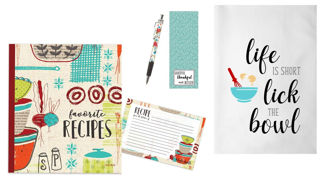 Recipe Binder Set with Recipe Cards and Dish Towel (Made With Love) by Bailey & Browne