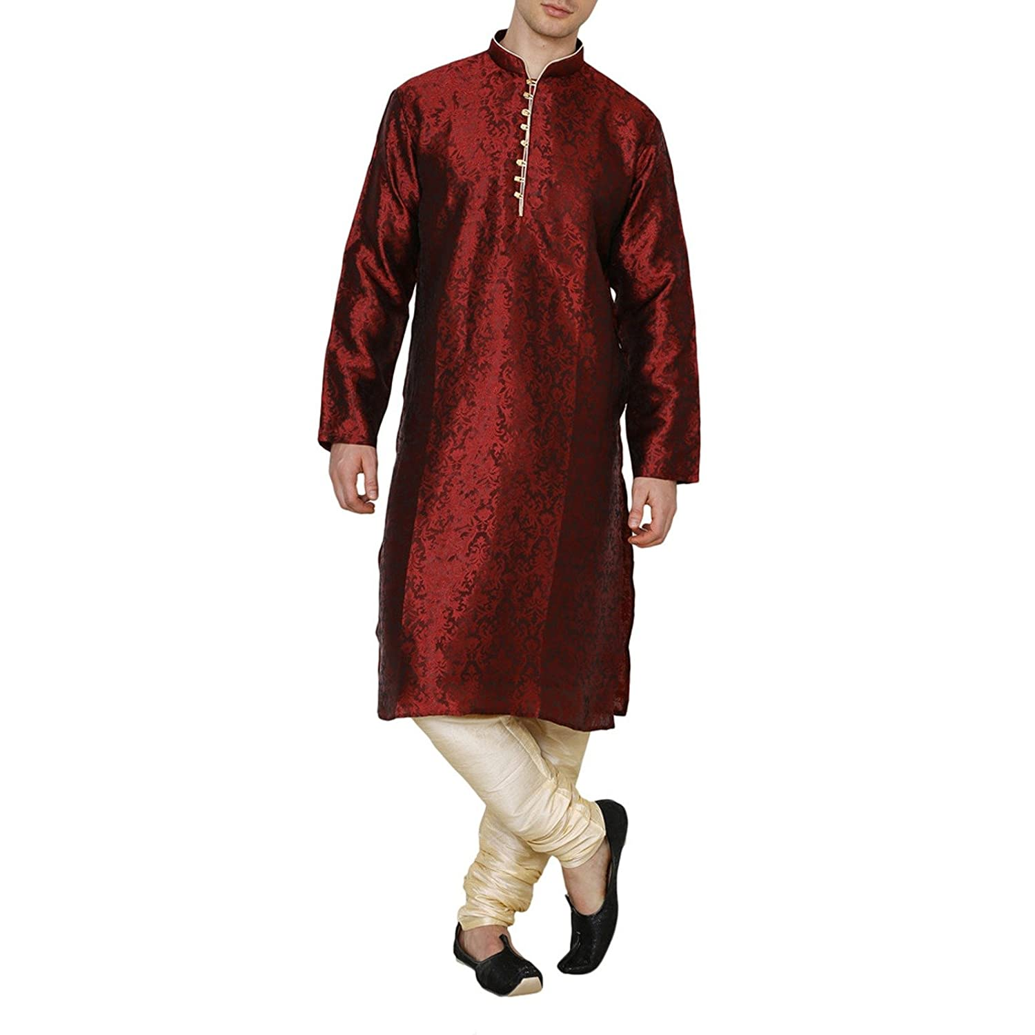 Royal Traditional Mens Designer Maroon Jacquard Silk Kurta Pajama Ethnic Party Wear PAR-RM-RK-KP-255