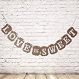 Pixnor LOVE IS SWEET Vintage Wedding Bunting Banner Photo Booth Props Signs Garland Bridal Shower Wedding Decoration