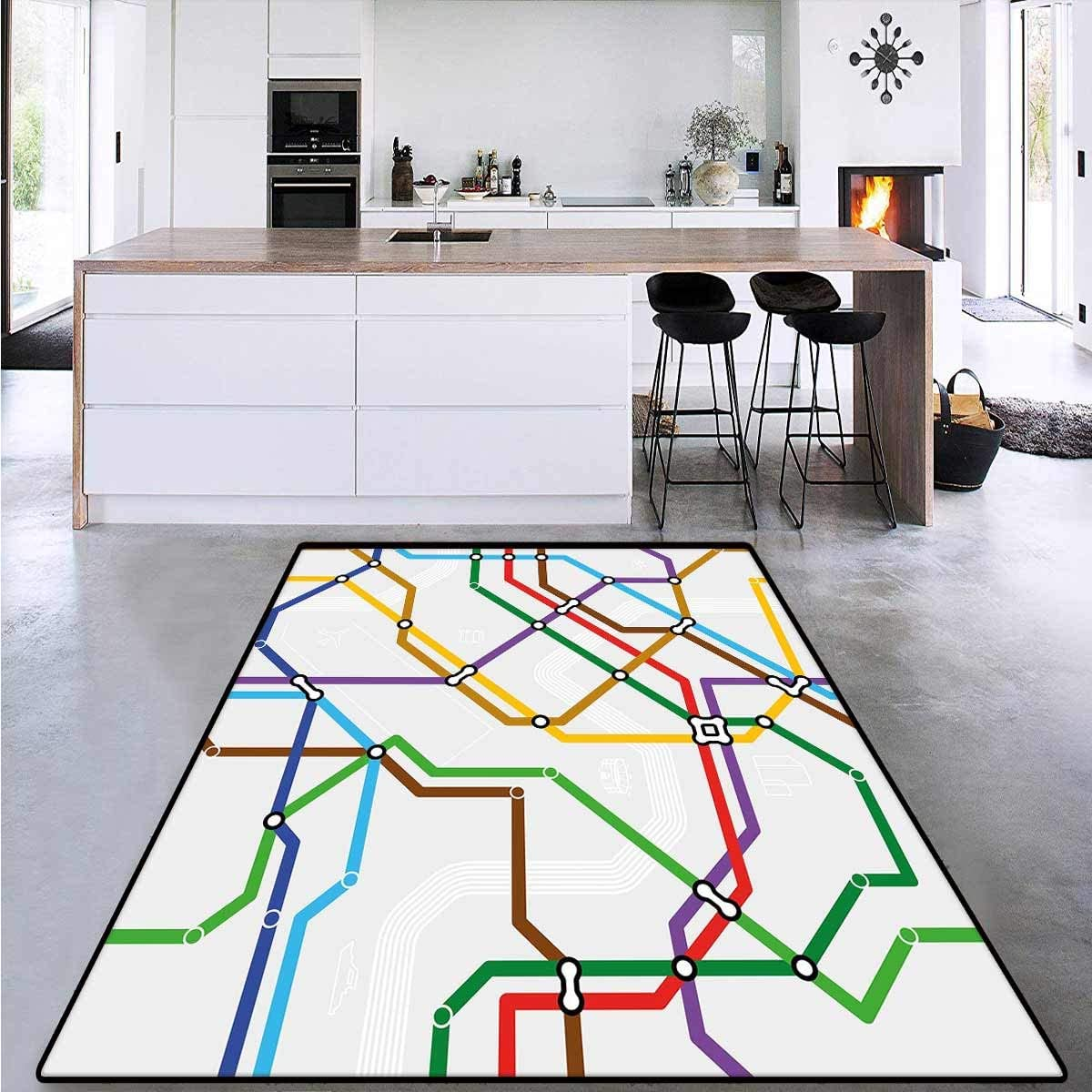 Map, Bath Mat 3D Digital Printing Mat, Stripes in Vibrant Colors Metro Scheme Subway Stations Abstract Railroad Transportation, Extra Large Area Rug 6' x 9' Multicolor