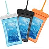 Waterproof Case, 3 Pack Cambond Universal Floating Waterproof Phone Case iPhone Waterproof Pouch Cell Phone Dry Bag Transparent TPU with Durable Lanyard for device up to 6 inch, Blue Orange Black