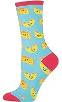 "Socksmith Womens' Novelty Crew Socks ""Mac n' Cheese"" - Bright Blue"