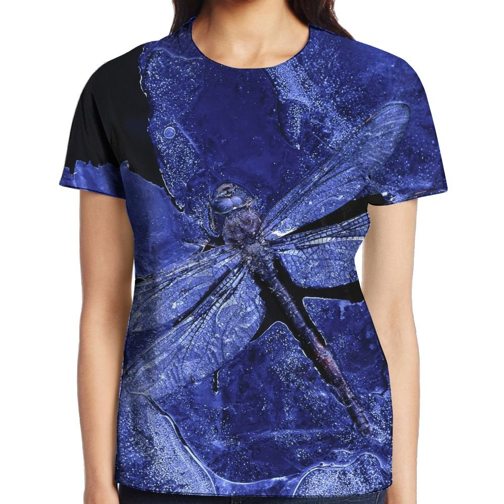 XIA WUEY Dragonfly Print Women's Novelty Graphic Tee Short Sleeve Baseball Tees