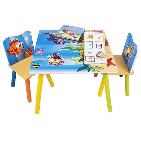 WOLTU SG003 3tlg. Kindersitzgruppe Kindertisch mit 2 Stühle Sitzgruppe für Kinder Vorschüler Kindermöbel Ozean bedrukte Kinde