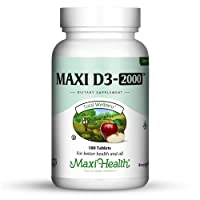 Maxi-Health Vitamin D3 2000 IU - for Healthy Muscle Function, Bone Health and Immune Support – 180 Tablets – Best Kosher Supplement for Adults