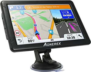 Aonerex Car GPS Navigation, 9-inch Car GPS High-Definition Touch Screen 8GB 256MB Satellite Navigation, with Lifetime Map, Voice Turn Instructions