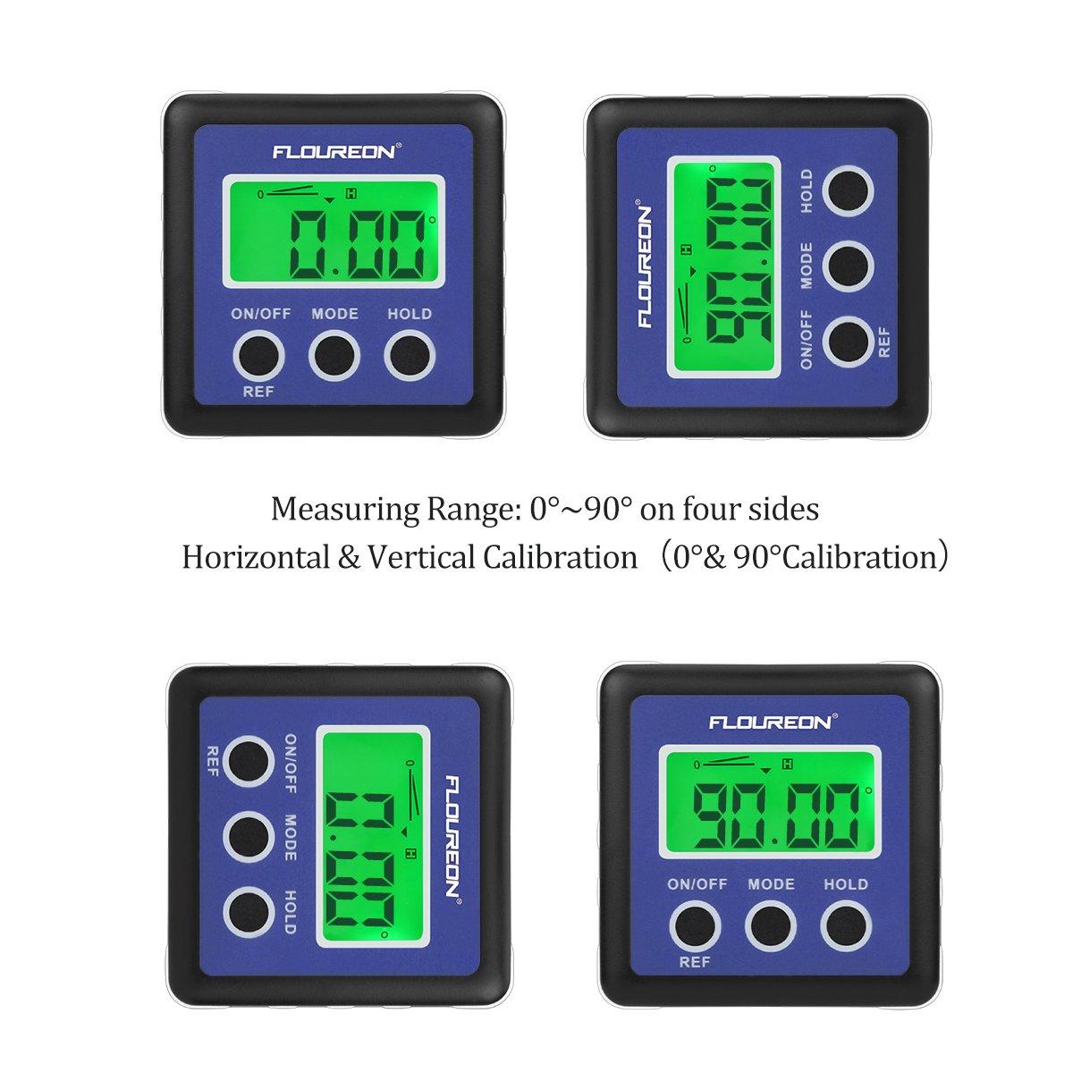 Floureon Digital Angle Gauge Bevel Box Level Inclinometer Protractor Meter 0-90°