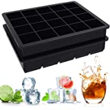 Ouddy 2 Pack Silicone Ice Cube Trays for Chilling Whiskey, Cocktail, Beverages & Making Candy, Cake, Chocolate, Easy Release