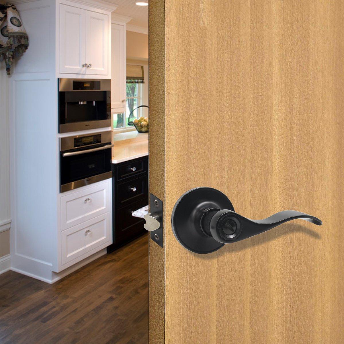 10 Pack Probrico Door Lever Privacy Door Lock Doorknobs Handle Hardware Keyless Lockset for Storage Room Bedroom Bathroom Without Key in Black-Right/Left Handed Reversible by Probrico (Image #7)