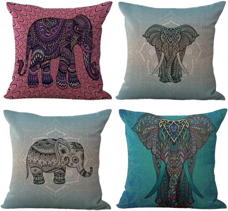 Indian Elephant Mandala Cushion Cover Set Decorative Square Throw Pillow Cases
