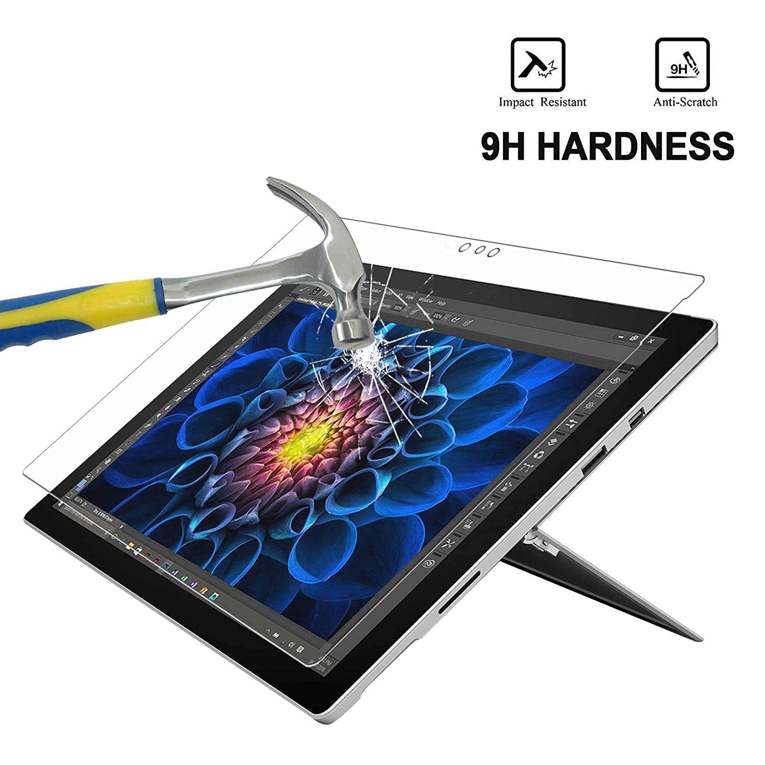 Protect Eyesight Tempered Glass Screen Protector for Microsoft Surface Pro 3-12 Inch MEGOO Surface Pro 3 Screen Protector, Blue Light Blocking