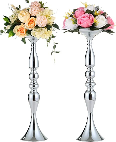 Wedding Dining Table Centerpieces Silver Candlestick Holders 19 7 50cm H 2pcs Tall Flower Candle Holders Vases For Centerpieces Flower Stand And Table Decorations For Party Event S50 Kitchen Dining