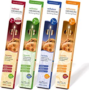 8 pcs (4 pairs) BIOSUN ear candles - made in Germany - 4 different scents - patented security filter