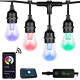 XMCOSY+ Outdoor String Lights - RGB & White 49Ft Patio Lights Multi Color String Lights LED Smart String Lights Outdoor 2.4GH