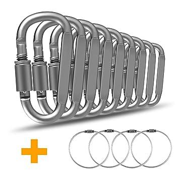 Mosquetón llavero mosquetón, D de anillo aluminio aleación mosquetón Carabiner con rosca, ideal para actividades en exteriores, camping, senderismo, ...