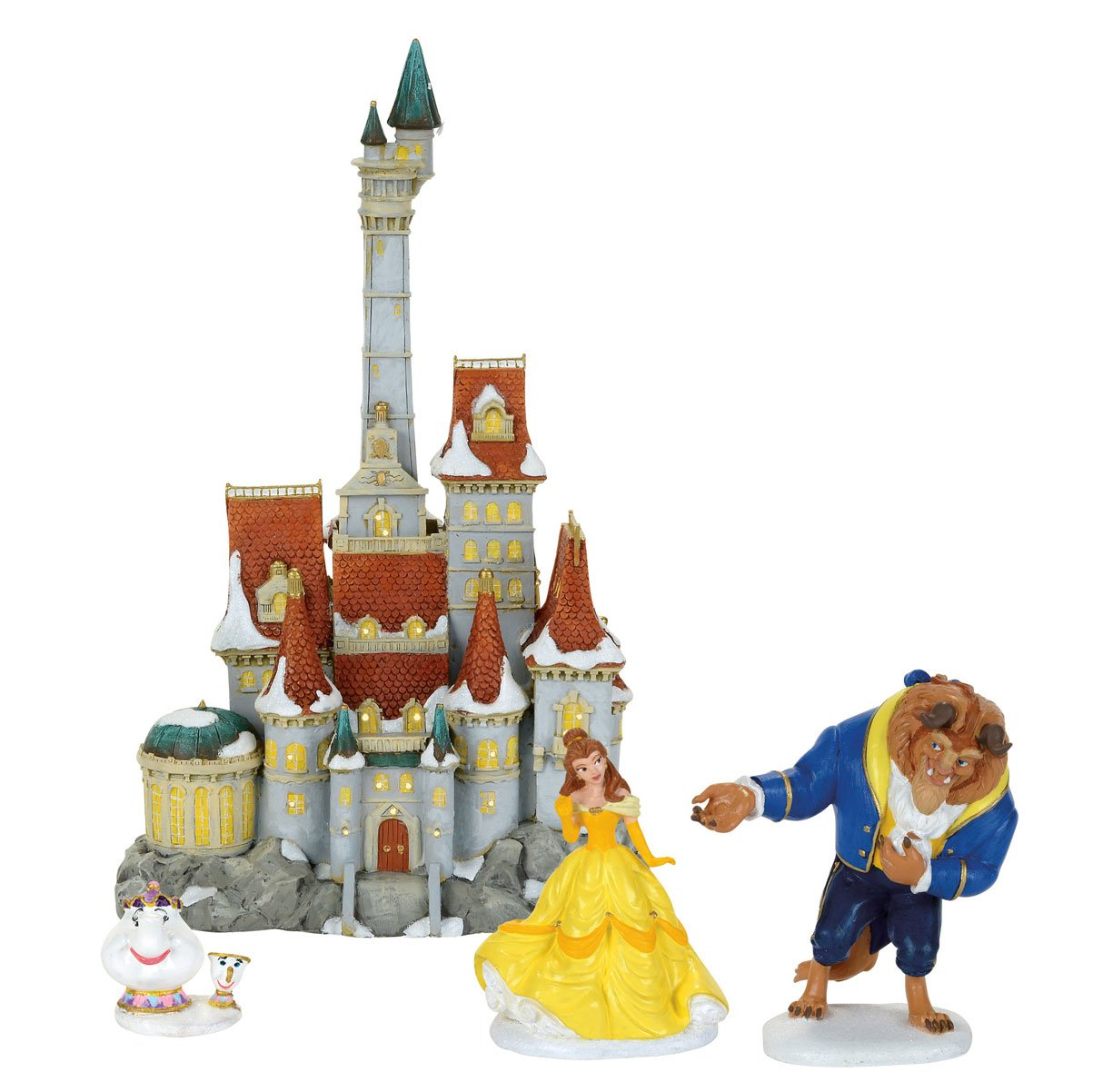 Department 56 Disney Princess Village Beauty & The Beast Holiday Set