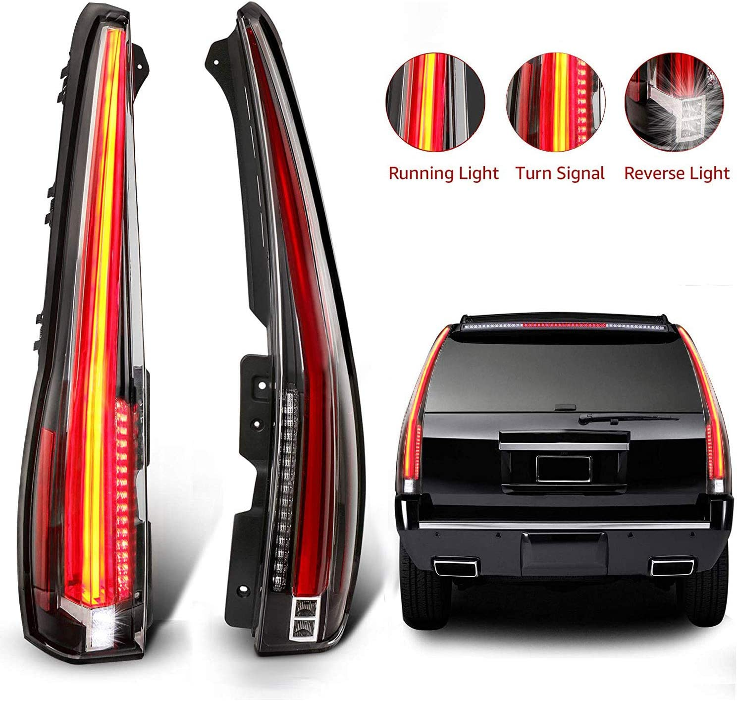 amazon.com: mostplus led tail lights rear compatible for cadillac escalade  2007-2014 esv rear lamp assembly with red turn light (red clear): automotive  amazon.com