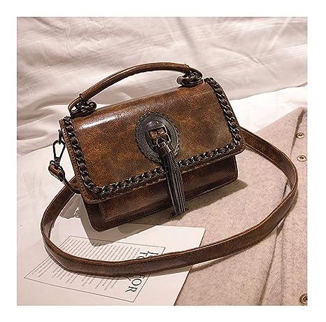 7b4dfb1db48ed XUZISHAN Meine Damen Tasche Mit Fransen Quadrat Handtasche Leder Messenger  Bag Retro Fashion Einfachheit Kette Crossbody