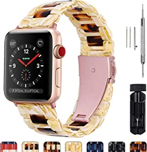 Fullmosa Compatible Apple Watch 38mm/40mm/42mm/44mm, Bright Resin Apple Watch Band for iWatch SE & Series 6/5/4/3/2/1, Banana Milk+Dark Amber(Rose Red Hardware) 38mm