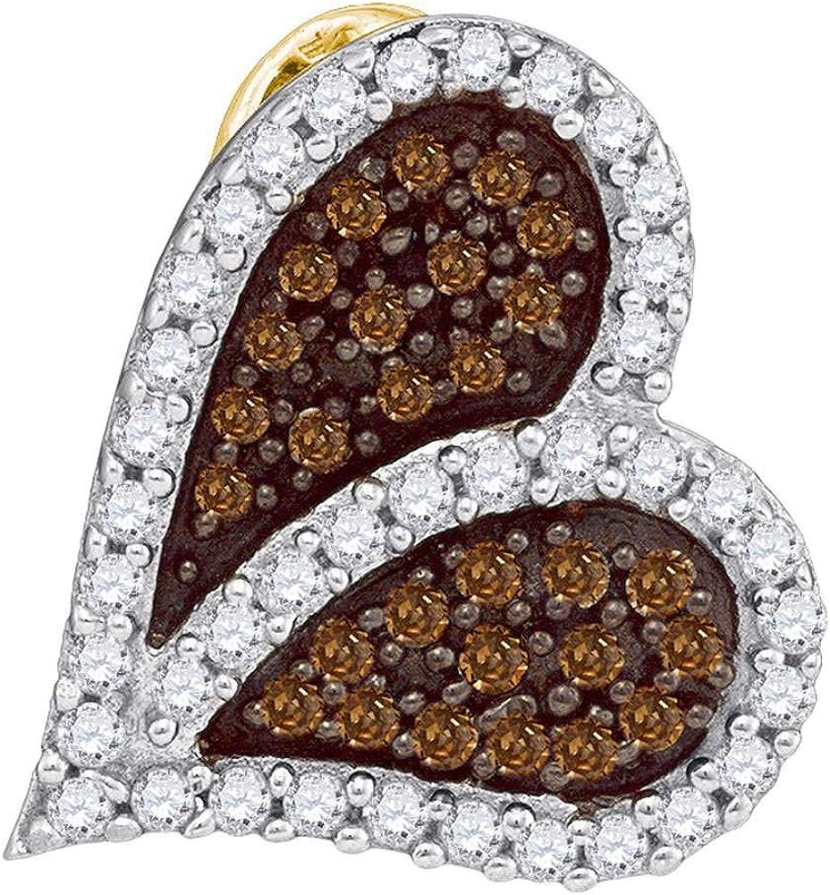 Brown Diamond Sideways Heart Love Pendant 1//3ct 10k Yellow Gold