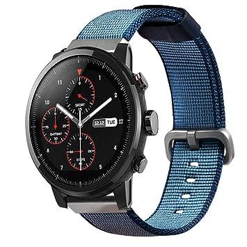 Correa de Reloj de Nylon Lienzo Compatible con Amazfit Stratos / HUAMI xiaomi Pace Smartwatch,22mm Liberación Rápida Pulsera de Repuesto Pebble Time ...