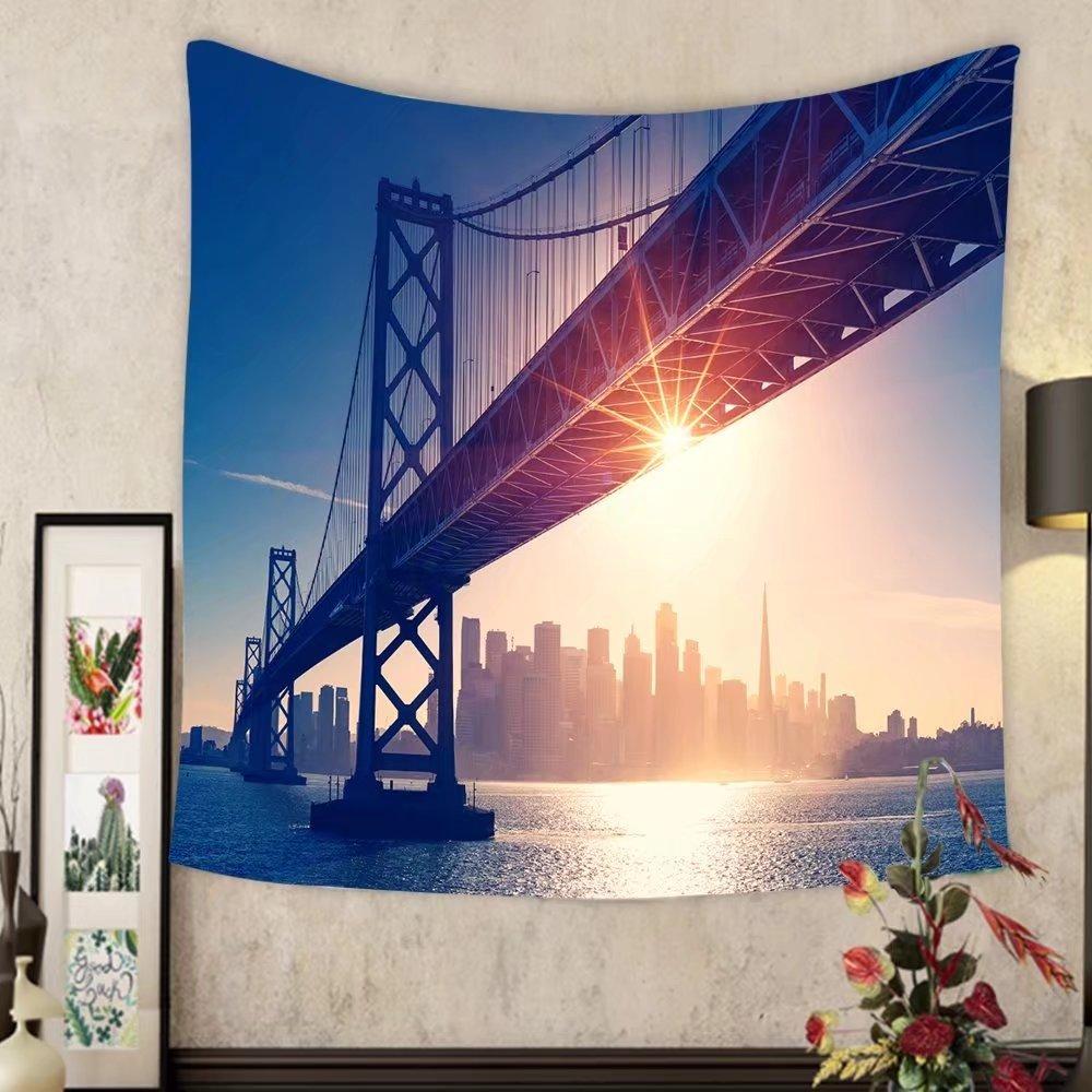 Grace Little Custom tapestry san francisco skyline retro view america spirit california theme usa background