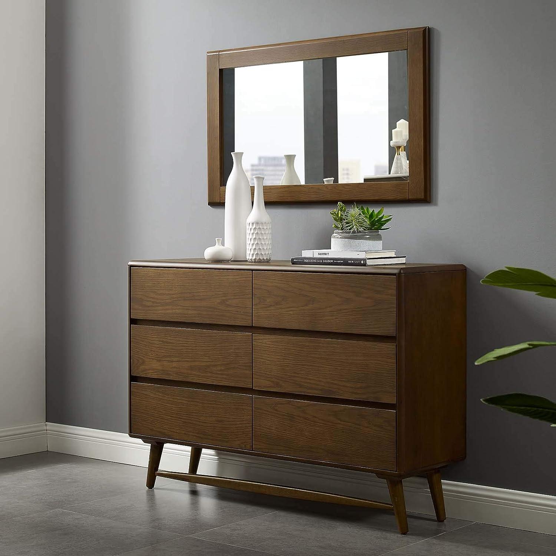 Modway Talwyn Rustic Modern Wood 5-Drawer Bedroom Dresser In Chestnut