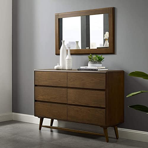 Modway Talwyn Rustic Modern Wood 6-Drawer Bedroom Dresser In Chestnut