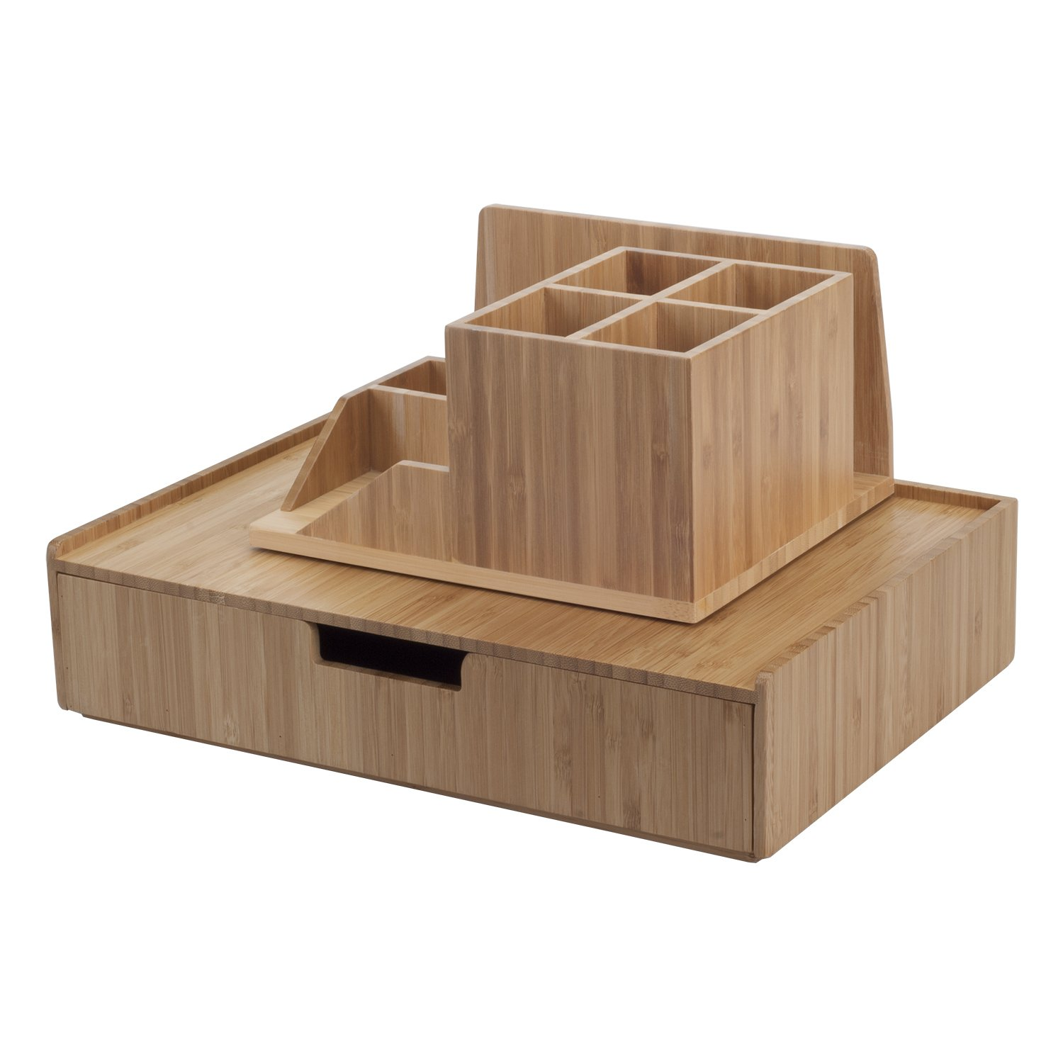 Bamboo Large Drawer Plus Desktop Organizer with Compartments Combo for Office Products Paper, pens, Pencils, Scissors, Notepads, Business Cards & More