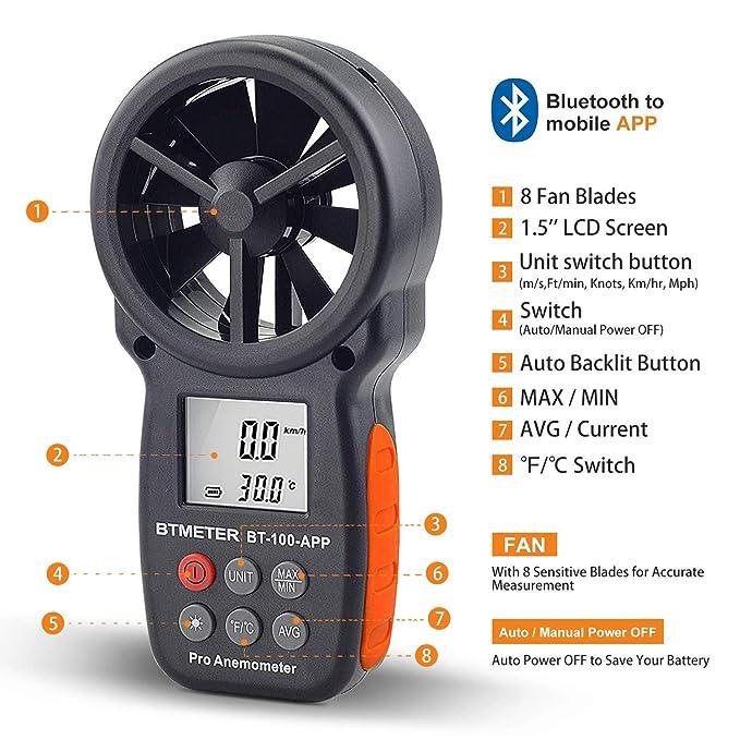 Amazon.com : Digital Wind Speed Anemometer Handheld, Wireless Bluetooth Vane Anemometer Meter for Wind Chill, Speed, Temperature Monitor (BTMETER BT-100APP) ...