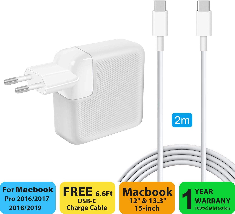 Ronnie Chargeur MacBook Pro,87W USB C Adaptateur Secteur PD Chargeur d'alimentation pour MacBook Pro 13 '' 15 '' Pouces 2015 2016 2017 2018 de Type C,
