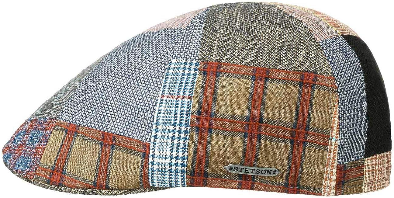 Fodera Primavera//Estate Made in The EU Berretto Estivo Cappello Piatto Lino con Visiera Fodera Stetson Coppola Texas Classic Patchwork Uomo