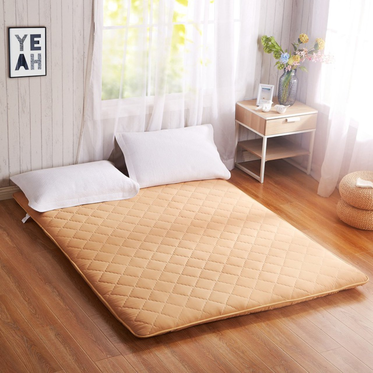 Yellow star Double tatami mattress, Student dorm futon mattress topper portable sleeping pad non-slip floor mat quilted foldable cushion mats-yellow 90x200cm(35x79inch)