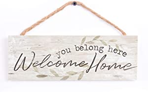P. Graham Dunn You Belong Welcome Home Whitewash 10 x 3.5 Inch Pine Wood Slat Hanging Wall Sign