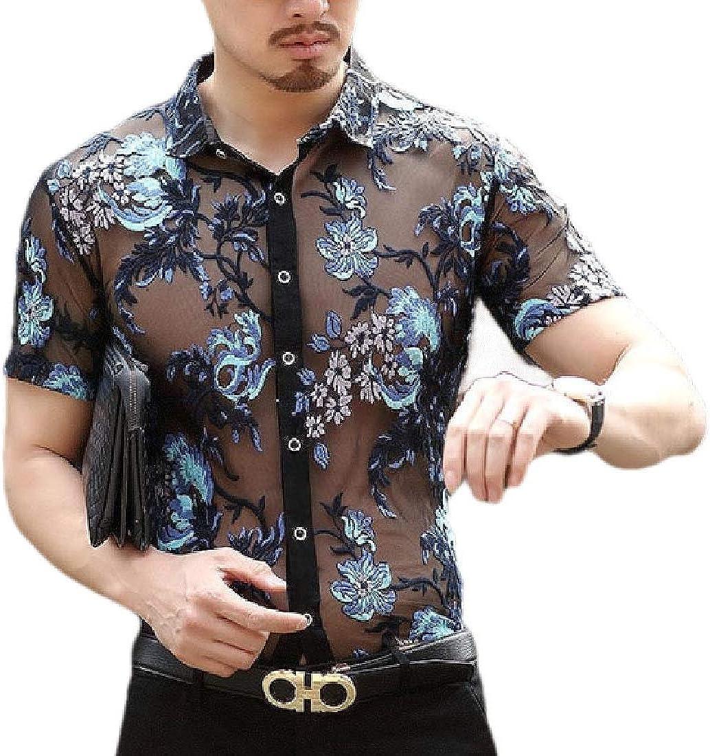 Mens Stylish See Through Button Up Short Sleeve Floral Print Mesh Shirt