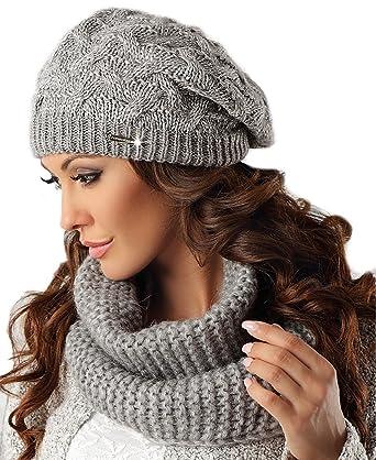Pawonex élégant Set Bonnet Béret Tuyau écharpe d hiver en coton pour femme  - Gris 971537aea6a