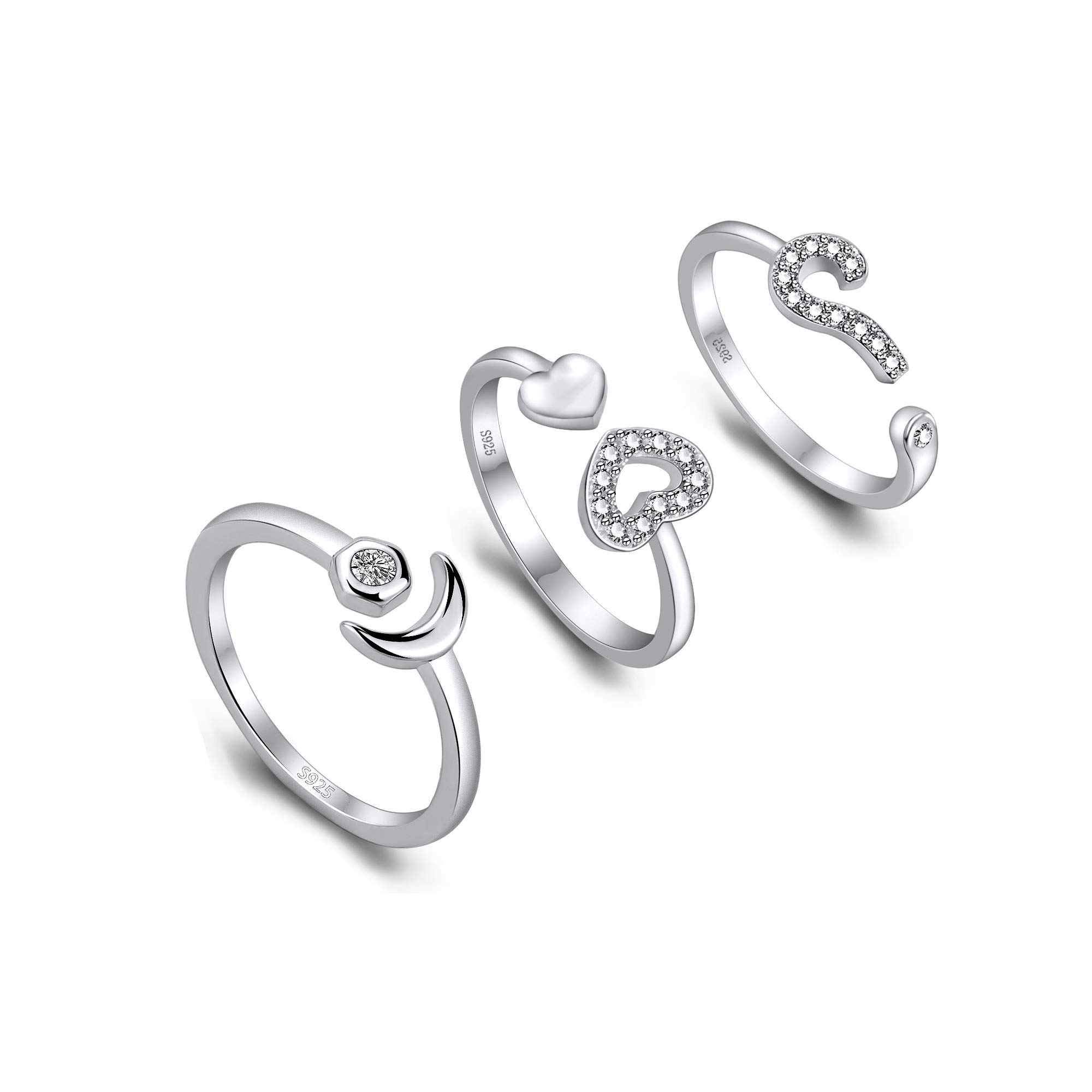 Bifriend 3 Pieces Silver Adjustable Knuckle Ring Open Toe Rings Various Types Knuckle Ring Set for Women and Girl