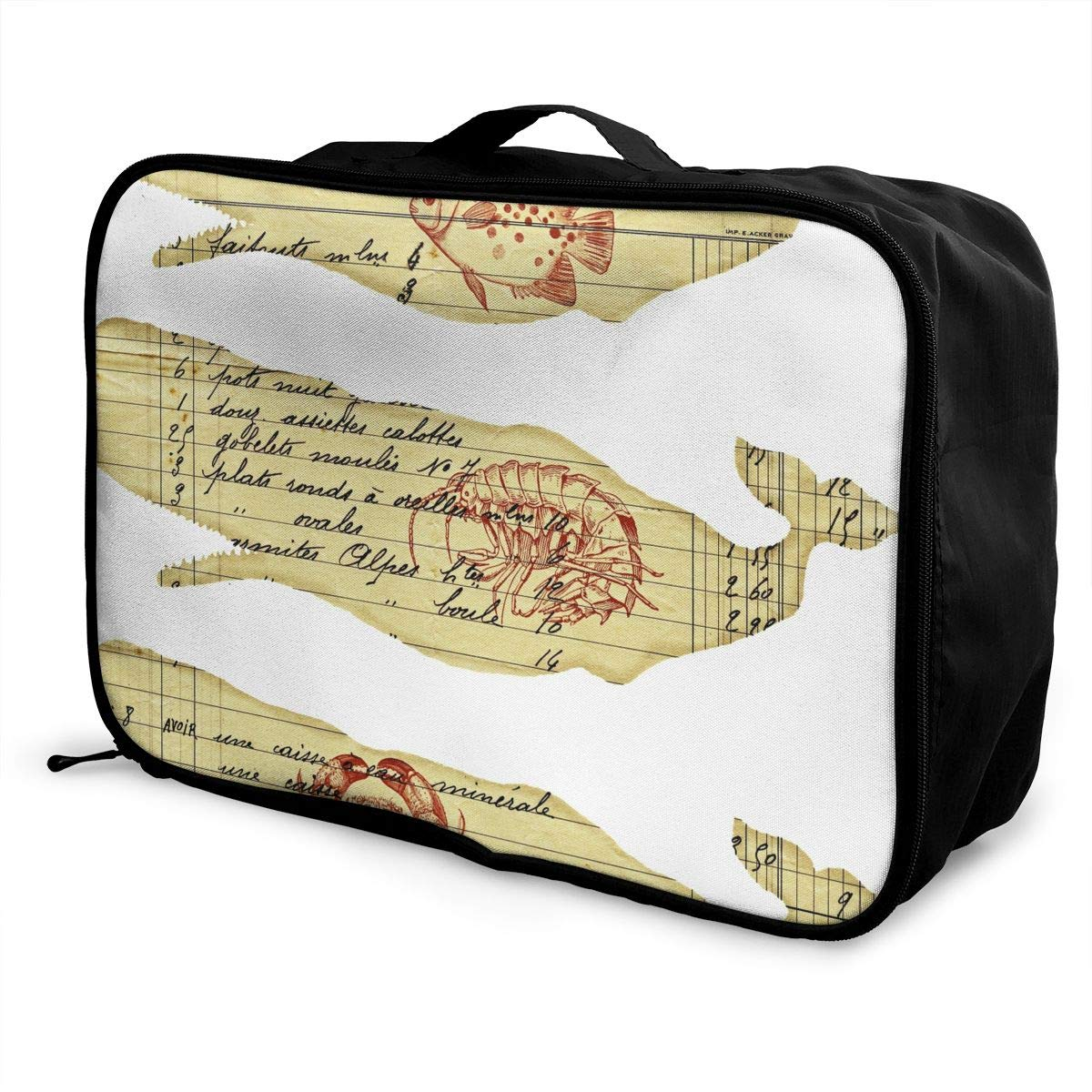 ADGAI Big Shark Eats Fish and Shrimp and Crab Canvas Travel Weekender Bag,Fashion Custom Lightweight Large Capacity Portable Luggage Bag,Suitcase Trolley Bag