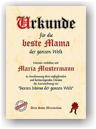 Urkunde für die beste Mama der ganzen Welt - Geschenkurkunde zum ...
