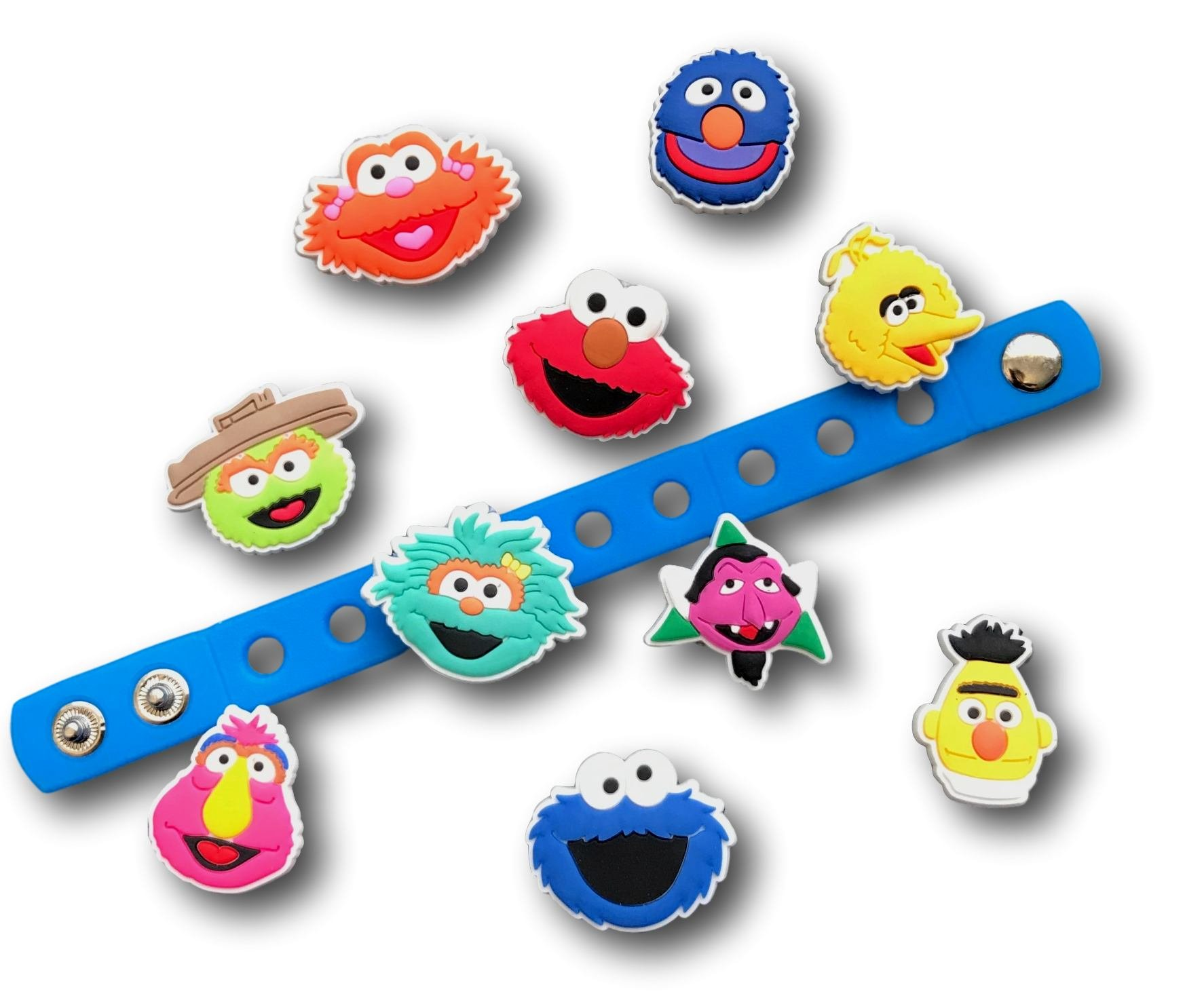 Cute Jibbitz Shoe Charms PVC Plug by Nenistore|Accessories for Crocs Shoes & Bracelet Wristband Party Gifts | Sesame Street (Set of 5 assorted pcs) FREE 01 Silicone Wristband 7 Inches
