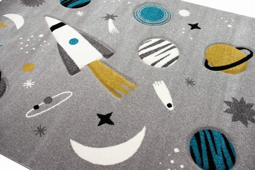 M/érinos Tapis dapprentissage pour Enfants avec Tapis /étoiles et plan/ètes en Gris Gr/ö/ße 80x150 cm