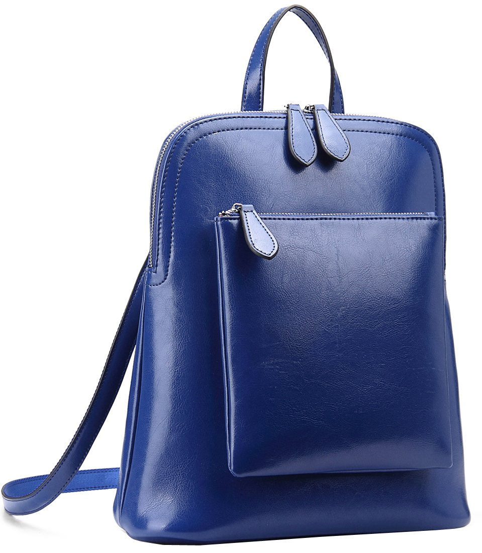 Black-L Heshe Women/'s Vintage Leather Backpack Casual Daypack for Ladies and Girls