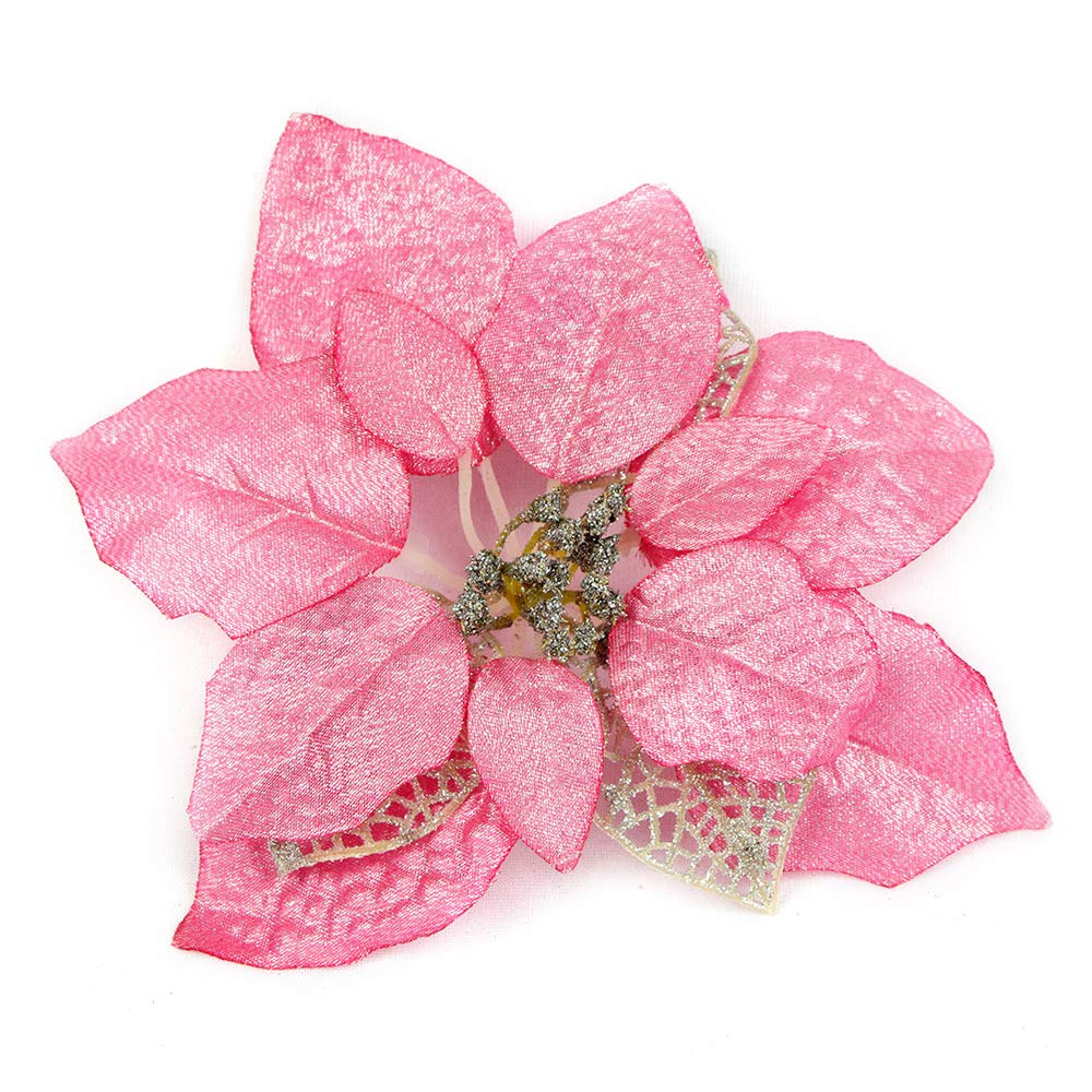 Pink Christmas Ornaments.Riverbyland 9 Poinsettia Flower Christmas Tree Ornament Pink 6 Pcs Silk Flower Arrangements