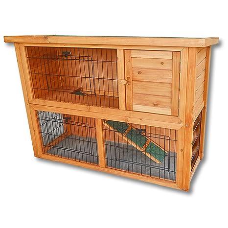 Conejera 2 niveles caseta roedores corredor libre animales pequeños jardín